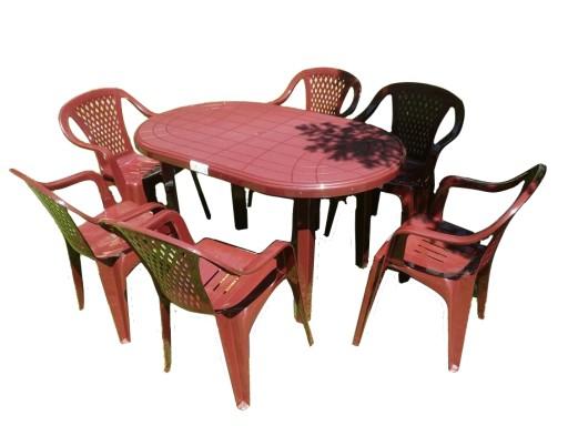 Zestaw 61 Stół Krzesła Meble Ogrodowe Plastikowe