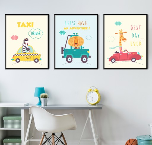Plakaty Obrazki Dla Dzieci Autka Zestaw 3 X A3
