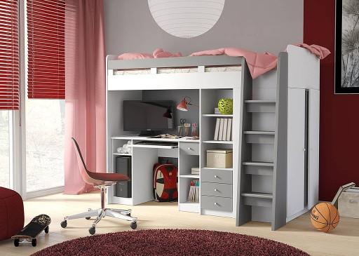łóżko Piętrowe Z Biurkiem I Szafą Białe 7044169364 Allegropl