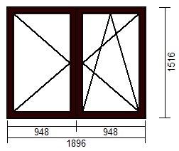OKNO PCV 1896 x 1516 R+UR CIEMNY BRĄZ - WYPRZEDAŻ
