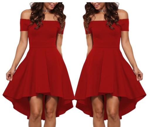 Sukienka rozkloszowana czerwona piękna 61346 36 S
