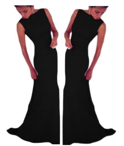 Długa sukienka suknia z trenem 6743 czarna L 40