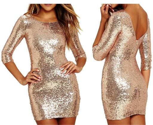 5d79af8ce1 Cekinowa sukienka koktajlowa 376 złota cekiny 40 L 7086595281 ...