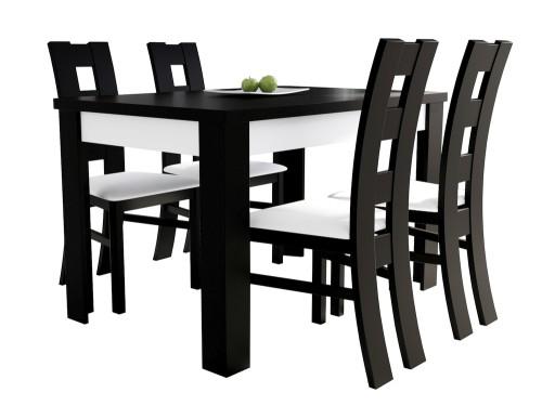 Zestaw Biało Czarny Stół I 4 Krzesła Do Kuchni 7157826227 Allegropl