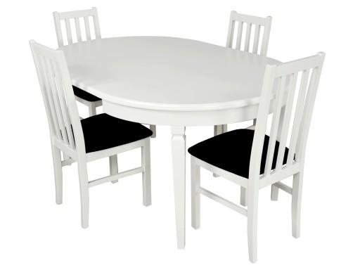 Biały Okrągły Stół 4 Krzesła Rozkładany