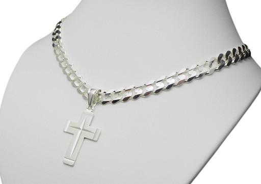 łańcuszek Srebrny Męski Pancerka Gruby Krzyżyk 7492624251 Allegro Pl