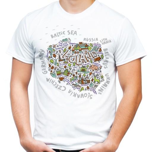 Koszulka Prezent Pamiatka Z Polski Mapa Orlem Hq L 7739501327 Allegro Pl