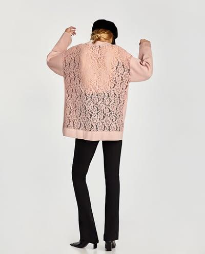 ZARA PIĘKNY SWETER ZŁAMANY RÓŻ PLECY KORONKA S 9505201492 Odzież Damska Swetry TD QWDPTD-4