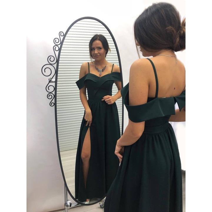 Kejla BORDOWA SUKIENKA z odkrytymi ramionami L 9418763747 Odzież Damska Sukienki wieczorowe PC SBBUPC-9