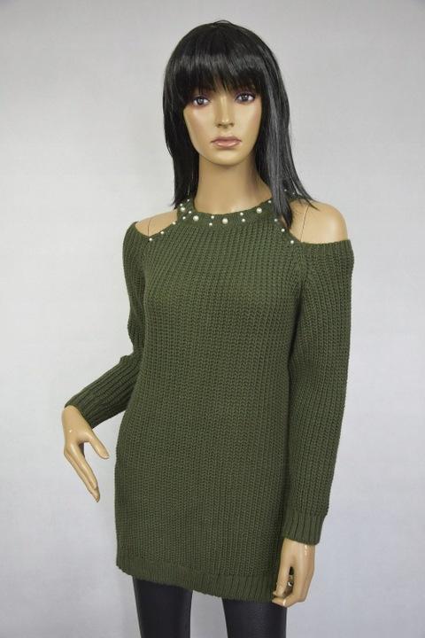 Śliczny SWETEREK odkryte ramiona perełki -kolory!! 7714339663 Odzież Damska Swetry IN YWWKIN-3