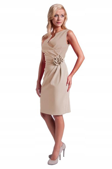 Sukienka Z RÓżą Unikat Na Wesele Komunie R/38 7591807829 Odzież Damska Sukienki wieczorowe PA JKDFPA-4