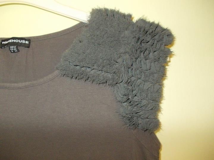 Sukienka tunika szara z puszkiem Warehouse 40 / 42 7486077269 Odzież Damska Sukienki UT FQKPUT-1